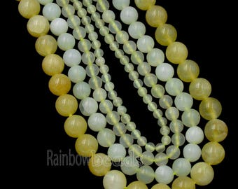 Natural candy Moutain Yellow Jade Beads, White Gemstone Beads, Yellow Jade beads,  Round Natural Beads, 15''5 strand, 4mm 6mm 8mm 10mm