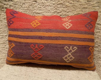kilim lumbar pillow,16x24inch,40x60cm,kilim pillow cover,home decor,decorative throw pillow,turkish kilim pillow,vintage pillow