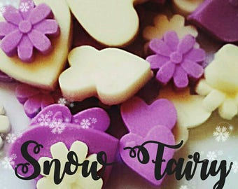 Snow fairy scented soy wax melts, wax tarts, glitter melts, fairy melts, sparkle melts, purple melts, white melts, wax burner.