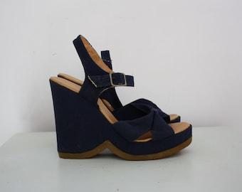 1970s Navy Platform Wedge Sandals UK Size 5 EU38