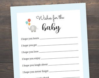 Wishes for the baby, Baby Shower Games, Blue Baby Shower, Baby Boy Shower, Elephant Baby Shower, Baby Wishes Card, Printable Advice, ES3