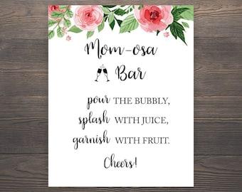 Mom-osa Bar Sign, Momosa Bar, Mimosa Baby Shower, Mimosa Bar Sign, Momosa Bar Printable, Baby Shower Decor, Bubbly Bar Sign, Champagne, S017