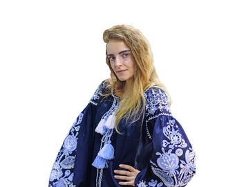 """Blouse """"Flowers from Paradise"""" in navy"""