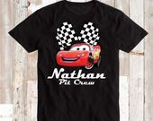 Lightning McQueen Tee Tees T-Shirt With Custom Name Cars Disney Personalized With Pit Crew Disney Cars On Onesies Cars Bibs and Tees, aa81