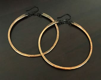 Large Copper Hoop Earrings Hammered Rustic