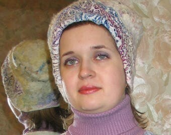 "Eco style winter hat-Merino wool. Felted hat ""Jeskimoska""."