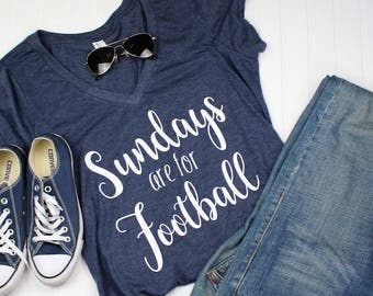 Sundays are for Football Shirt, Football Shirt, Superbowl Shirt, Fall Shirt, game day shirt, Blue V Neck Shirt, Sundays, Vinyl Shirt