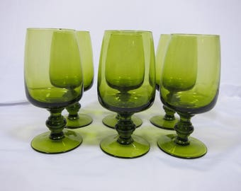 Set of 6 Vintage Mid-Century Modern Blown Glass Olive Green Drinking Glasses