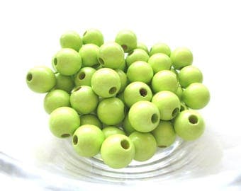 50 wooden pacifier clip 10 mm - lime green beads
