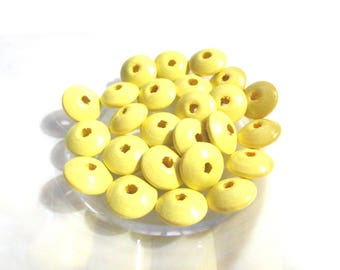 50 wooden flat for pacifier beads - tender yellow