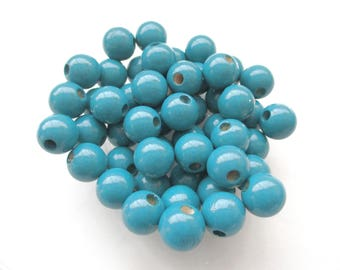50 pacifier 10mm - teal wooden beads