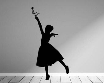 Dancing Princess, Girl Dancing Decal, Dance Studio Decor, Wall Silhouettes, Dancer Decal, Girl Dancing Decal, Dance Sticker, Dance Decor