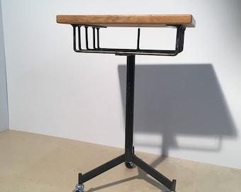 Industrial Wood + Metal Side Table/Magazine Holder