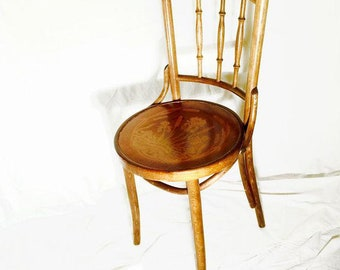 SPRING FLING Art Deco Thonet Bentwood Pair Of Kitchen Dining Cafe Chairs  Embossed Seat C1930