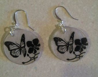 Butterfly on Orchid earrings