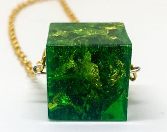 Kryptonite Resin Cube Necklace
