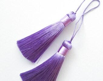 Purple Silk Tassel, Mala Tassel, Handmade Silk Tassel, Earring Tassel, Tassel Pendant