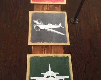 Airplane Silhouettes / Set of 3 Hand-Painted Wood Signs