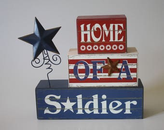 Military Patriotic Soldier USA Red, White & Blue Keepsake Cremation Urn