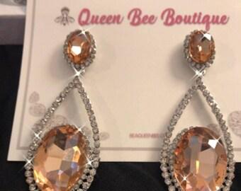 Golden Topaz Austrian Crystal Pierced Earrings
