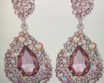 Champagne Crystal Teardrop  Chandelier Earrings Pierced