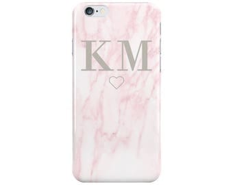 Personalised Name initials Pink Marble Phone Case Cover for Apple iPhone 5 6 6s 7 8 Plus & Samsung Galaxy Customized Monogram
