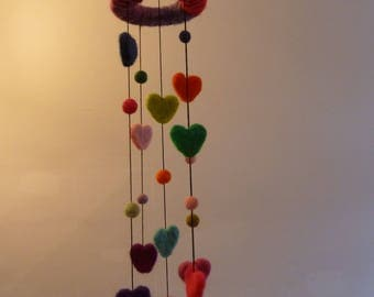 Colourful needle felted Hanging mobile