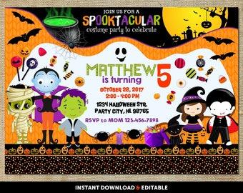 Halloween Birthday Invitation, Halloween Birthday Party Invitations, Halloween Birthday Invite, Halloween Birthday Invitation Kids
