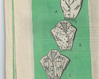 Vintage 1950s American Weekly mail order sewing pattern #9379 blouses shirts tops size 12