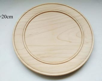 "Unfinished Wooden Plate- Decoupage-Solid wood-Natural Wood-Wooden Shape-Unpainted-Diameter 7.9"" (20cm)-Wooden Plates-Wooden Blank"