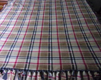 London tan plaid fleece tie blanket