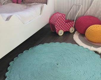 Mint blue round crochet rug perfect for babyroom, made from cooton cord, very thick and soft
