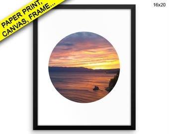 Sunset Wall Art Framed Sunset Canvas Print Sunset Framed Wall Art Sunset Poster Sunset Circle Art Sunset Circle Print Sunset Circle Photo