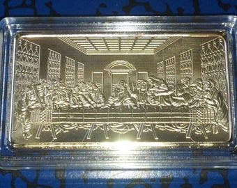 Jesus Last Supper Religious Gold Plated Art Bar
