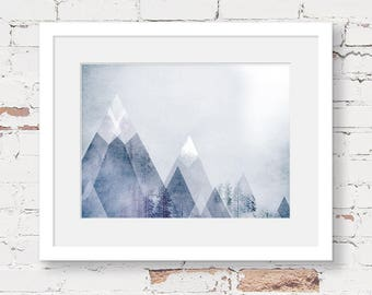 geometric mountain art print, instant download printable art, scandinavian kids art, monochrome nursery, triangle artwork, mountain decor