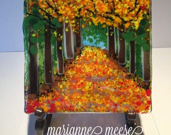 Tree-lined Road in Fall- Fused Glass Panel