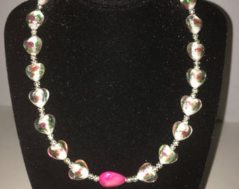 """Glass foil heart beads & pink stone 16"""""""