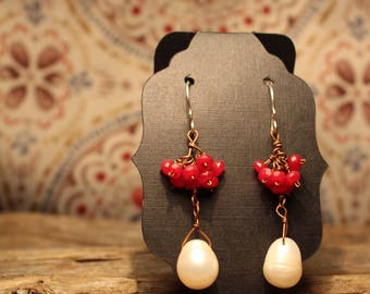 Fresh Water Pearl - Red Dyed Jade Cluster - Sterling Silver Ear Hook - Copper Wire