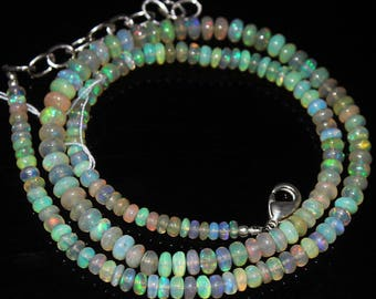 """Welo Fire Ethiopian Opal Smooth Loose Rondelle Gemstone Craft Beads Strand Necklace 16"""" 3mm 5mm 50.4ct #174"""