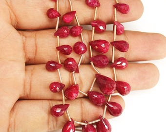 2 Strand Ruby Faceted Briolette Tear Drop Briolette Gemstone Craft Loose Beads 7mm 13mm