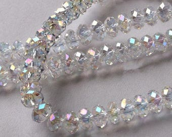 Crystal Rondelle AB Beads, Crystal Beads, Glass Beads, Loose Crystal Beads, Faceted Spacer Beads, 6mm, USA Seller, 49 pcs, C157