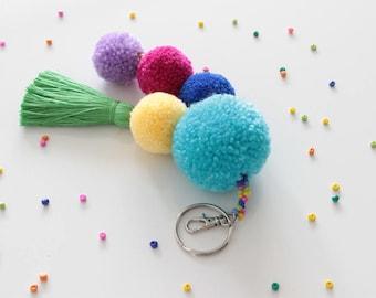 Pom Pom Bag Charm, Pom Pom Keychain, Tassel Keychain, Handbag Charm, Pompom Keychain, Tassel Bag Charm, Pom Pom Tassel, Bag Accessories