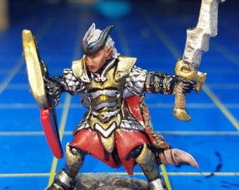 Hellborn paladin, from the Reaper bones line of miniatures for your tabletop dungeons and dragons game.