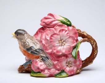 Robin with Flowers Teapot (10803)