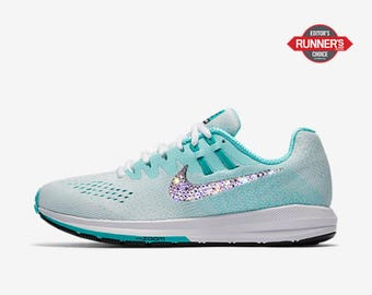 crystal Nike Air Zoom Structure 20 Bling Shoes with Swarovski Crystals Women's Running Shoes Aurora Clear Jade
