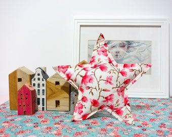 Star cushion - Handmade - white and pink