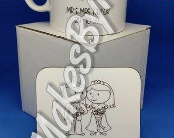 Mr & Mrs Mug and Coaster Set. Wedding gift set