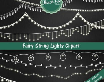 Fairy Lights Clipart - String Lights Clipart - Wedding Invitation Clipart - Stars - Feathers - Hearts  -  Digital Paper - Instant Download
