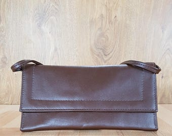 Evening leather bag - Vintage Brown leather clutch - Women leather business bag - Classic leather purse.