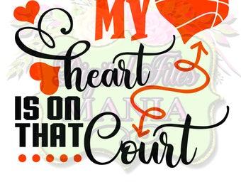 My Heart Basketball Svg Cut File Basketball Mom T-Shirt Basketball Cut File for Silhouette or Cricut